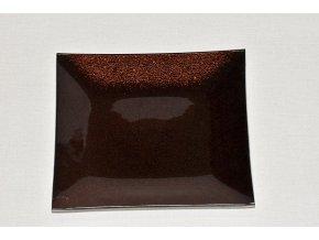 Skleněný tác 19,5 x 19,5 cm, hnědý s perletí