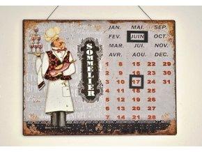 Nástěnný kovový kalendář Sommelier