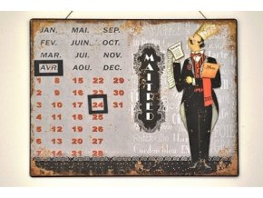 Nástěnný kovový kalendář Maitred