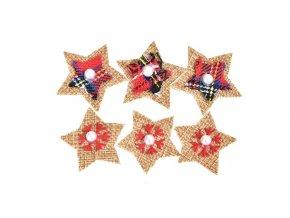 Vánoční dekorace srdce, hvězda, stromeček, sada 6 ks hvězdička