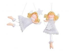 Látkový anděl bílý s perletí