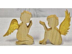 Dřevěný anděl s kovovými křídly 15 cm