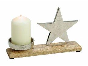 Vánoční svícen hvězda 23x16 cm
