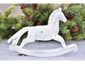 Kovový houpací kůň bílý 20,5x31 cm