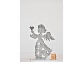 Svícen anděl stříbrný 21 cm