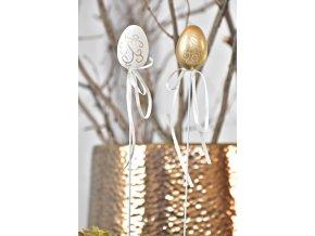 Plastová vajíčka na špejli Gold-White s/12, 4 cm
