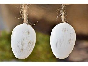 Plastová vajíčka na zavěšení, bílo zlaté s/12, 6 cm