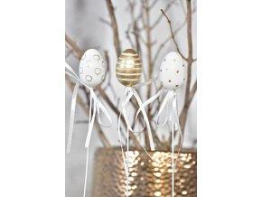 Plastová vajíčka na špejli, bílo-zlaté s/12, 4 cm