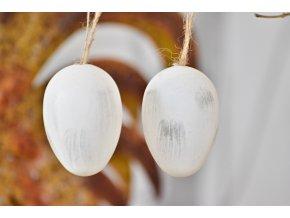 Plastová vajíčka na zavěšení, bílo-šedá s/12, 6 cm