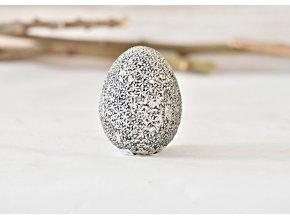 Stříbrné vajíčko s květinovým reliéfem 7x5,3 cm