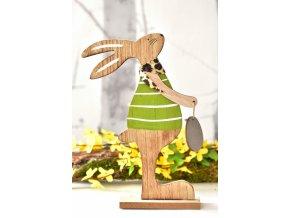Dřevěný zajíc s vajíčkem 26 cm, zelený