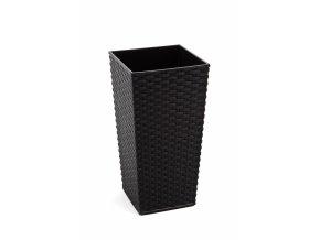 Plastový květináč Finezia ratan 300x300 mm, černý