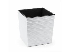Plastový květináč Juka vroubek 300x300 mm, bílý