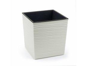 Plastový květináč Juka vroubek 300x300 mm, krémový