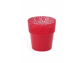 Plastový květináč krajka Rosa 170 mm, červený
