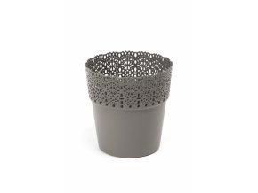 Plastový květináč krajka Bella 130 mm, antracit