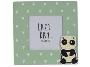 Fotorámeček zelený - panda, 17x17 cm