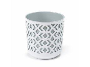 Plastový květináč Aztek 290 mm, bílý/světle šedý