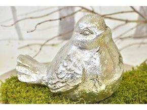 Keramický ptáček Ollie L, stříbrný