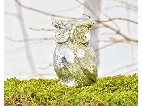 Keramická sova Alex S, stříbrná