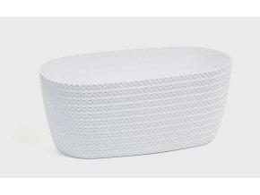 Plastový květináč Jersey, oválný 37,5 cm, bílý