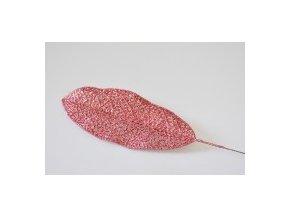 Umělý list s glitry 14x6 cm, korál, s/36 ks