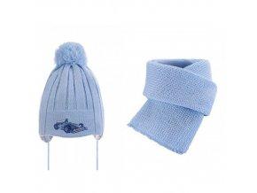 Dětská čepice a šála modrá 2 ks