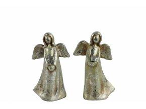 Anděl Ashriel s hvězdou 14,5 cm stříbrný, mix druhů