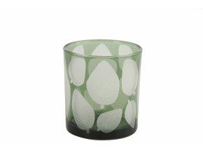 Skleněný svícen Zora, zelený s listem 8x7 cm