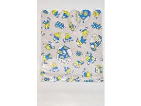Vánoční celofánový sáček - sněhuláci, modrý 26,5x33,5 cm