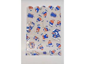 Vánoční celofánový sáček - sněhuláci, modro-červený 21,3x32,5 cm