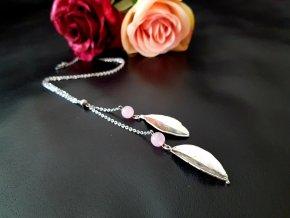 Laurel 3 Náhrdelník (růženín, ch.ocel, list)1