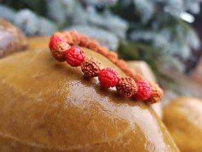 Touha Náramek (rudraksha, cinnabar)1