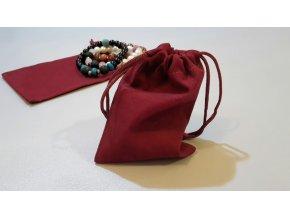 Luxusní sametový sáček bordó (Velikost 9 x 13 cm)