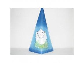 Svíčka velikonoční pyramida ovce, pozadí modré