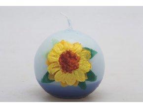 Svíčka velikonoční - koule modrá - žlutá květina