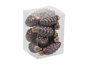 Skleněné baňky - šišky 6 cm, kaštanové , sada 12 ks
