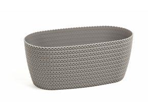 Plastový květináč Jersey, oválný 37,5 cm, šedý