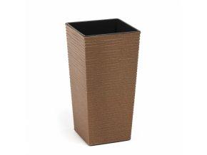 Plastový květináč Finezia vroubek ECO 250x250 mm, přírodní dřevo