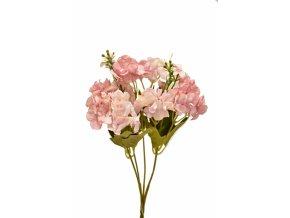 Kytice hortenzií 32 cm, světle růžová