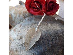 Ynke levitace 4 Náhrdelník (pravý list, růženín)1