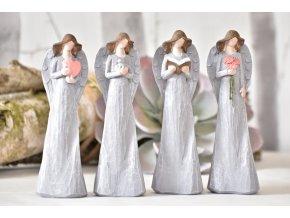 Anděl Pruel šedý 16 cm