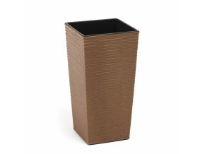 Plastový květináč Finezia vroubek ECO 350x350 mm, přírodní dřevo