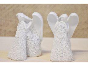 Sedící anděl Flo bílý 12,5 cm, mix druhů