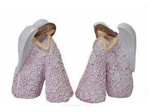 Sedící anděl Flo starorůžový 12,5 cm, mix druhů
