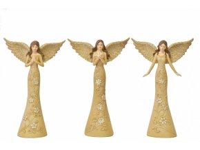Anděl Flora béžový 28 cm, mix druhů