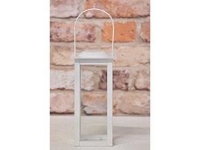 Kovová lucerna bílá 19,5x10x10 cm