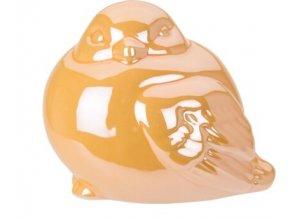 Perleťový ptáček žlutý 9,5x8x8 cm