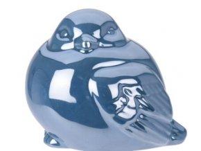 Perleťový ptáček tmavě modrý 9,5x8x8 cm