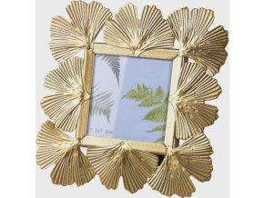 Kovový fotorámeček Ginkgo gold 14,5x14,5 cm